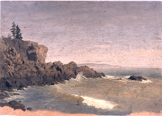 The coast protrudes in the left middle plane.  A hilly coastline is shown in the right background.  The dark orange ground color is shown at the bottom.