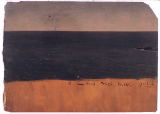 Horizontal image of a bird's eye view of the sea, where a rock protrudes in the right middle plane.  Broad margin shows the dark orange ground color.