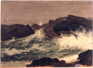 Rocks are shown in the right forground, the middle plane, and right background. The sea splashes  against them.   The dark orange ground color is shown at the bottom.