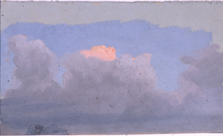 Horizontal study of dark clouds and a reddened one at the rear in a blue sky, with two boulders or the peak of a mountain at bottom right; irregular top margin showing the gray grounding color.