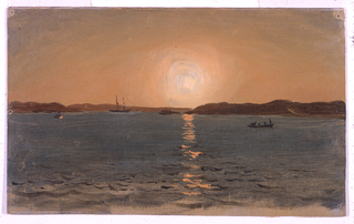 Shown from the sea.  Sun setting in center.   A row boat with several persons in it is in the right center.  Another and an anchored sail-boat are at the left. Hill ranges form the background. Caption and date written with pencil on the reverse.