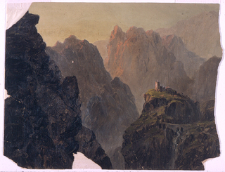 A structure with a circular tower is shown on top of a hill in the right foreground.  It is reached across a bridge over  a cataract.  Isolated  pinnacled rocks and a mountain range in the back form the scenery.