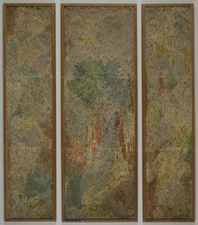 Non-woven construction in three parts: a triptych. An impressionist-like scene built up with stretched, linked and stitched yarns on a metal frame. Narrow strips of bark and synthetic material incorporated into this loose construction.