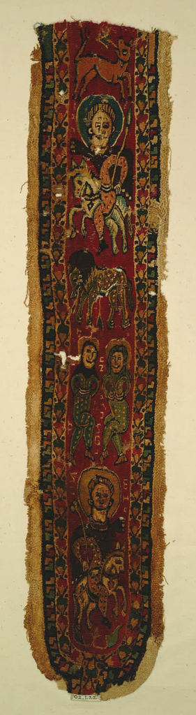 Design of crowned figure (or a saint with a halo) and two bound captives.