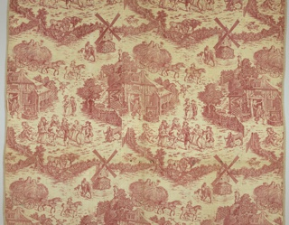 "Complete quilt of copperplate printed cotton, with a design in red on a white ground. The design shows men and women dancing in the yard outside a cottage, a windmill, and boys riding in a hay wagon. A horse is bearing sacks on its back with the initials ""WC"". The quilt is lined with polychrome printed cottons in patchwork."