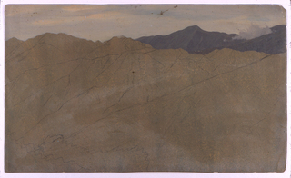 Horizontal image of two ranges of mountain ridges, with low lying clouds, one in right distance.  Only top third of sketch completed.