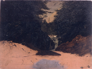 Horizontal view of a waterfall from a rocky stream in deep woods, seen looking up the falls.  Pine trees over shadow the stream in the foreground, and a dead tree is silhouetted in the distance.  Sketch unfinished in the foreground.