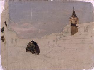 The rocky bed of a stream is shown in the foreground.  A bridge crosses it in the middle distance. Parts of houses are shown at left.  At right are houses and a church.  The sky , the view through the arch of the bridge, the steeple and other parts of the church are colored.