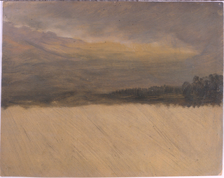 Horizontal drawing of woods and rolling hills in the distanceseen in the light of an  approaching storm.  Foreground of sketch not completed.