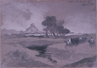 Horizontal view of a group of horsemen approaching a waterhole, with a man seated nearby.  Group of trees, at center, in middle distance. Castellated cliffs and hills in  background.