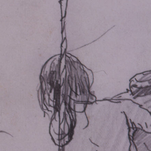 Vertical rear view of two girls sitting in a swing, hung from the branch of a tree.