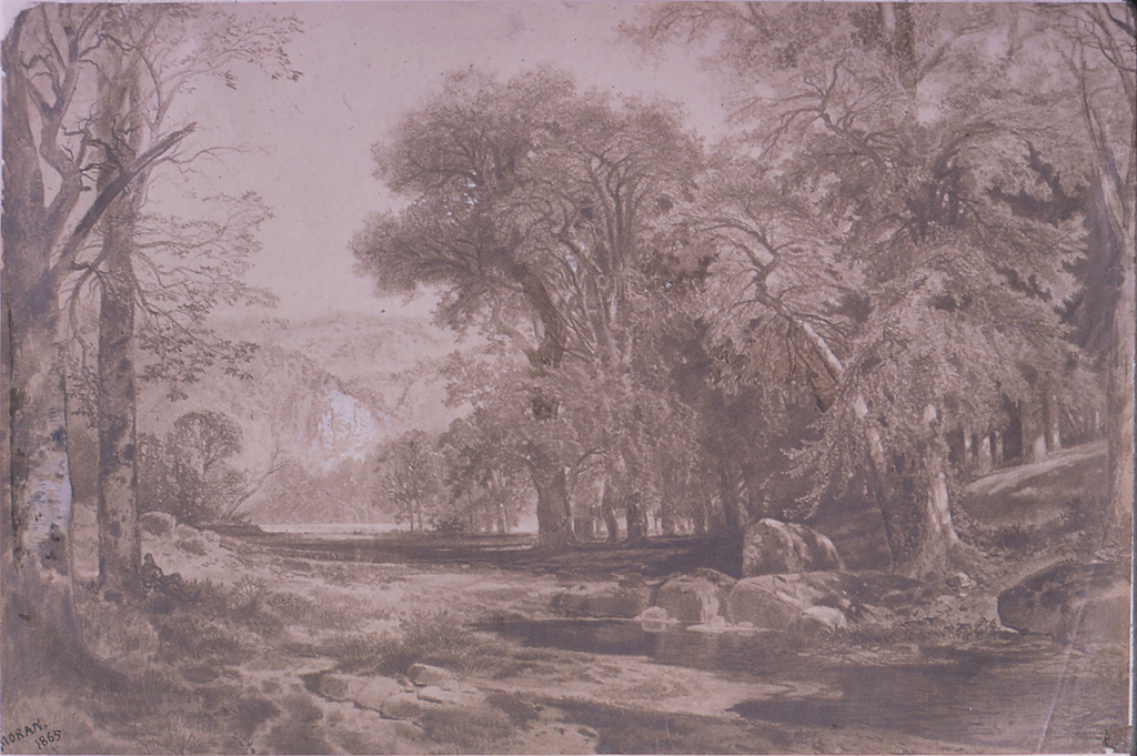 Horizontal view of the merging of a stream with a river, with a recumbent figure at lower left and high hills in the distance.