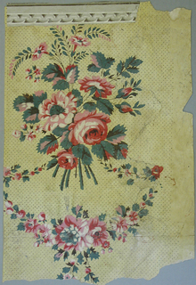 Bouquets of red flowers set within floral garlands. Printed in red, pink, green, brown and pale yellow on dotted yellow ground. One section has a ribbon and rod border, printed in grisaille, attached.