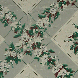 """Wider band of rose and floral motifs alternating with narrower band of ribbon or lace design. Original document for """"Nosegay"""", floral stripe. Printed in pink, white and varnished green on a gray ground."""