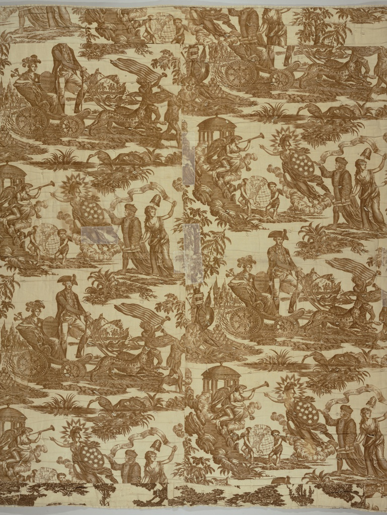 Obverse is comprised of two pieces of toile. The design is known as The Victory of Washington or The Apotheosis of Franklin. Reverse is made of three pieces of toile depicting rural festivities, including a maypole dance. Bound on the edges with white tape.