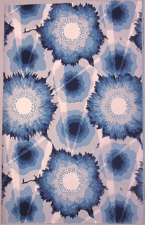 Large flattened flowers disected by rays of light. Printed in blue, dark blue, medium blue and silver.