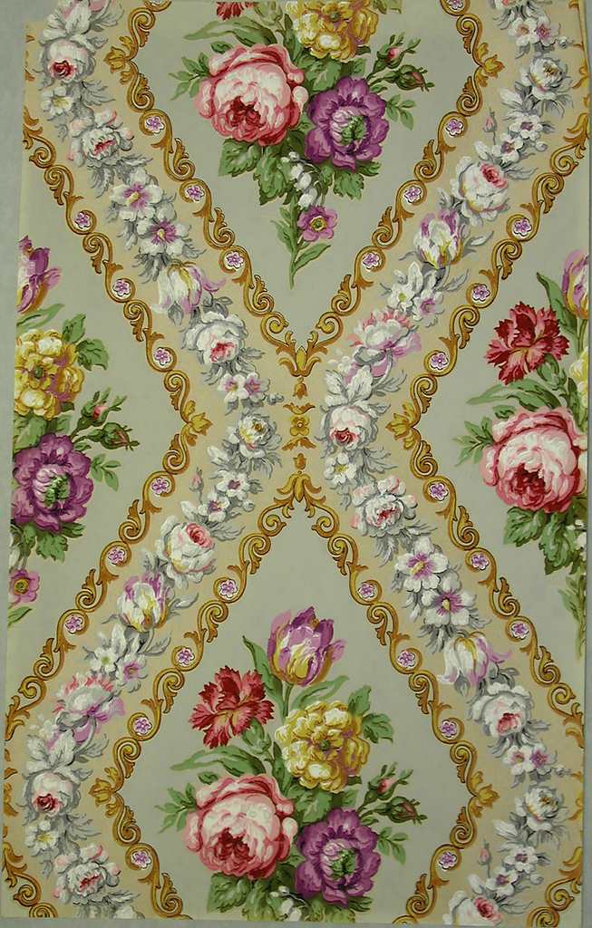 Large scale diamond-lattice enclosing a bouquet of tulip, rose, carnation and other multi-color flowers. Printed in beige, brown, taupe, green and violet on a grey ground.