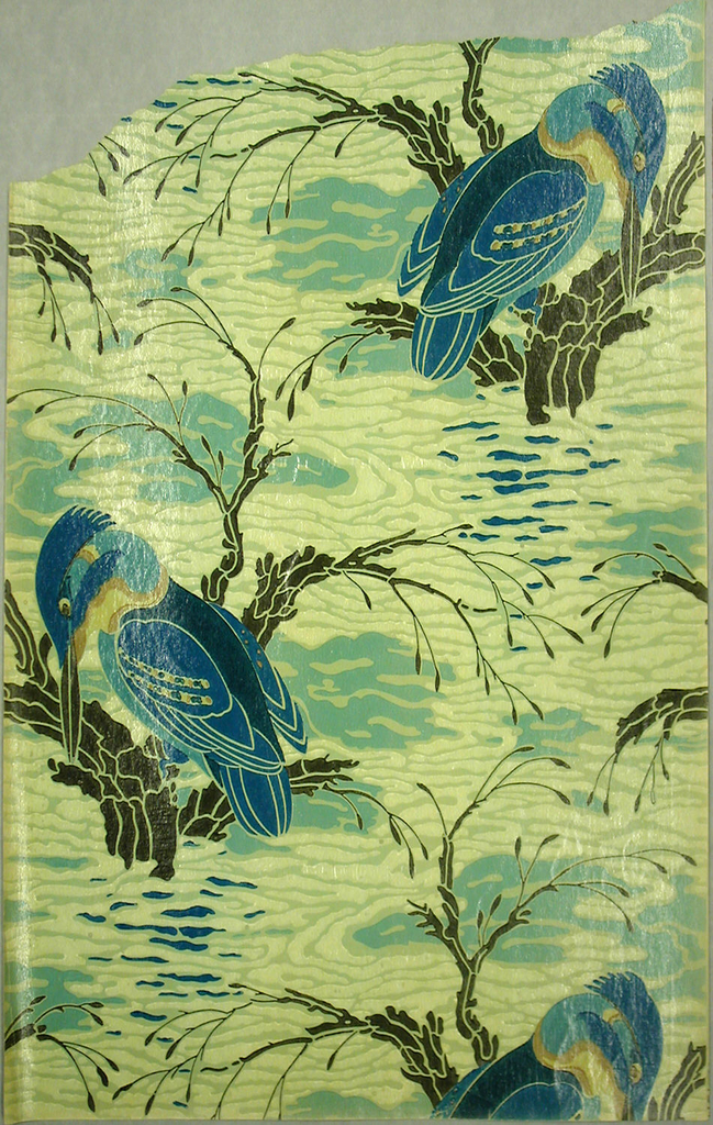Kingfisher seated on branch in stylized water. Printed in light blue, green, dark blue, yellow and black with a varnished surface.