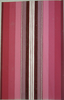 Three central stripes in silver, then graduated stripes in various shades some with silver dots on embossed leather-imitation paper. Printed in pink, raspberry and mauve.