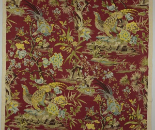 Pheasants among the rocks in multi-color on maroon background.