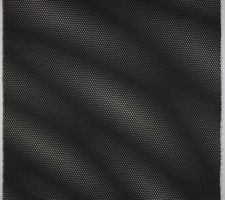 Woven design of white dots on a black ground, with the dots varying slightly in shape and density to mimic the optical effect of a folded perforated screen, or of two such screens shifting past one another.