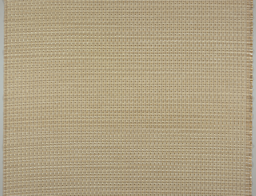 Textured weave of dull gray cotton and shiny beige viscose warps interlacing with raffia-like wefts in off-white, tan, and light brown.
