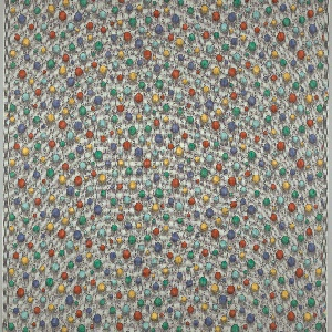 A gray and white shaded ground with an overall pattern of spheres of various sizes in blue, light blue, green, yellow and red.