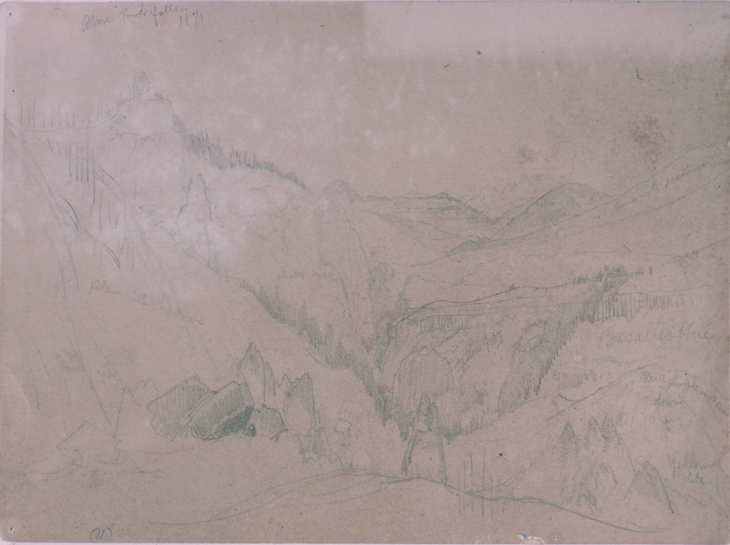 Drawing, Yellowstone, Above Tower Falls