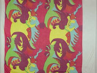 "Printed in pink, red, orange, purple, blue, green, and yellow. Pattern shows large scale swirling ""bizarre"" pattern."