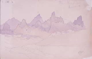 Recto: Horizontal view of distant jagged mountian peaks. Verso: View of two peaks with a canyon wall in left background.
