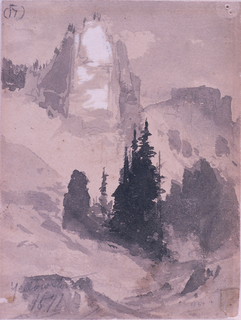 Recto: vertical view of mountainside with groups of pines in the middle groung and snow covered peak in the distance leading to a further moutain range. Verso: partial, slight sketch.