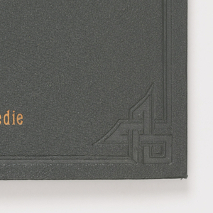 """Folder of strands of silk mounted on cardboard showing colors of the season. Green cloth cover with gold lettering, """"Printemps, 1927. 24001-24360. Carte de Nuances de la Chambre Syndicale des Teinturiers. Lyon. 25 Place de la Comédie."""""""