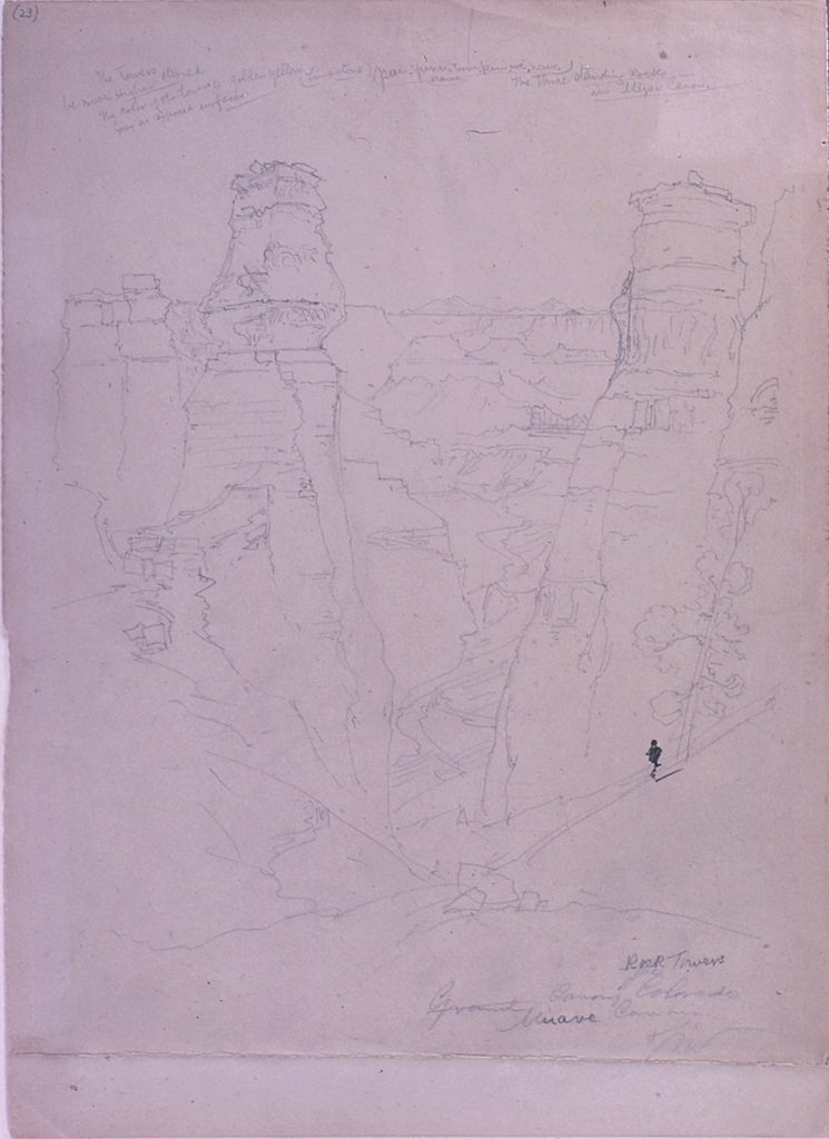 Drawing, Rock Towers in the Muave [Muav] Canyon, Colorado
