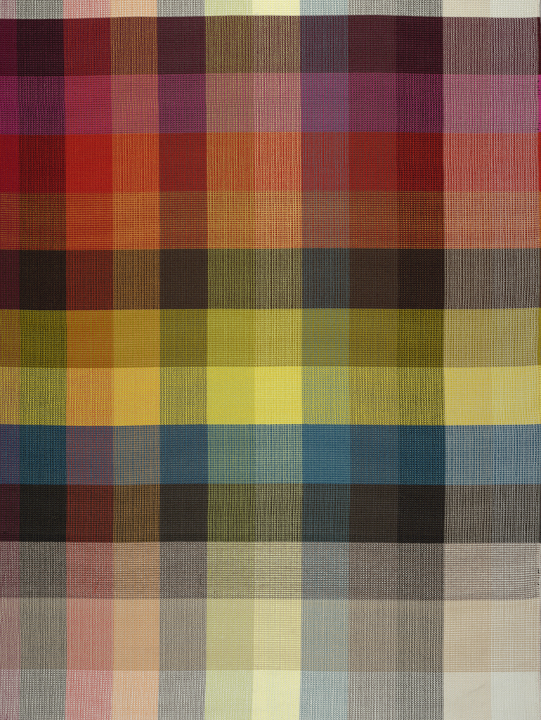 Color blanket for Cato, Knoll's longest-running textile. 10 of the 11 Cato standard colorways are included in the blanket: H800/50 Natural, H800/12 Ivory, H800/2 Sand, H800/44 Grey, H800/42 Blue, H800/51 Yellow, H800/41 Green, H800/43 Brown, H800/14 Fire Red, and H800/52 Hot Pink.