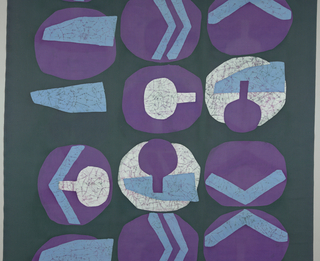 Large scale circular and geometric motifs, three to a row, in white, purple, and light blue on a dark gray-green ground.