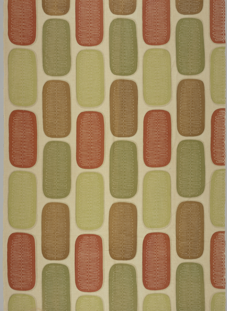 Straight repeat of vertical ovals in light green, green, rust and light brown placed on the diagonal, each with a white linear pattern of a fern frond or branch with leaves.