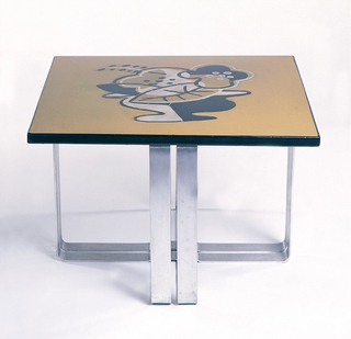 Low, square table; the top enameled with abstract still life; base forned of formed of four bent aluminum straps.