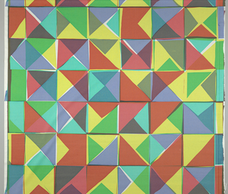 Brightly colored overlapping triangles and squares.