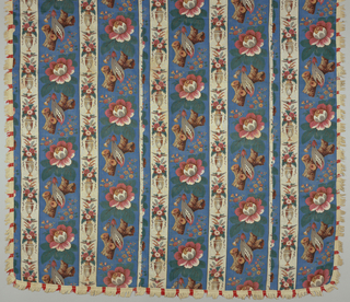 Unlined bedcover made of two full widths and part of another of printed fabric with fringe on four sides. Pattern composed of two stripes. The wider a flowering tree on a blue background. 17.5cm. wide and the other 8.5 cm. wide with an urn of flowers on a white background. Two groups of stripes are half dropped with an additional section of each on left and right to fill width of fabric.