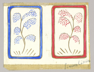 Matching playing cards with stylized tree design. Left card blue and gold, right card red and gold.