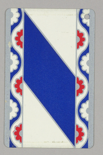 Against white background, wide stripe going from upper left to lower right, stylized flower borders left and right. Blue stripe, lower left corner with punched hole; verso, ten of spades.