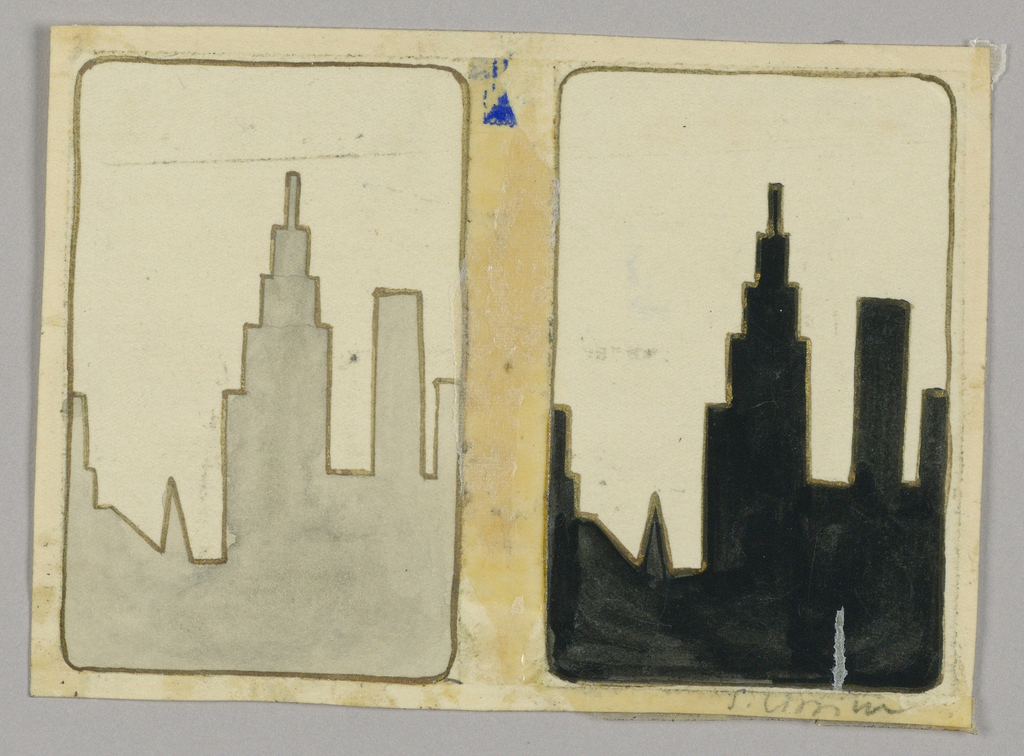 Matching playing cards with skyscraper silhouette; left card gray; right card black against cream backgrounds.