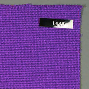 Plain weave with purple warp and weft. Heavy nylon yarns give a coarse surface texture.
