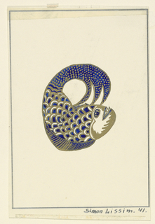 Image of a fish in royal blue and gold.