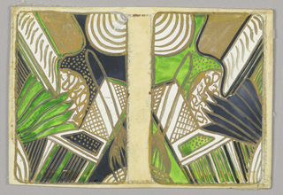 Matching playing cards of abstract design, blacks and greens reversed.