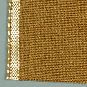 Plain weave with brown warp and weft. Heavy nylon yarns give a coarse surface texture.
