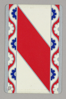 Against white background, wide stripe going from upper left to lower right, stylized flower borders left and right. Red stripe, upper right corner with punched hole; verso: Queen of spades.