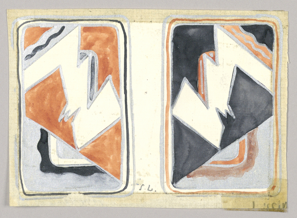 Matching playing cards of angular abstract design, left card, tan background; right card, black.