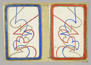 Matching playing cards with abstract linear design. Left card blue border, right card red border.
