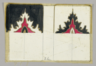 Matching playing cards, only upper halves completed. Red cupola shape center with jagged outline. Left card black upper background, right card white.